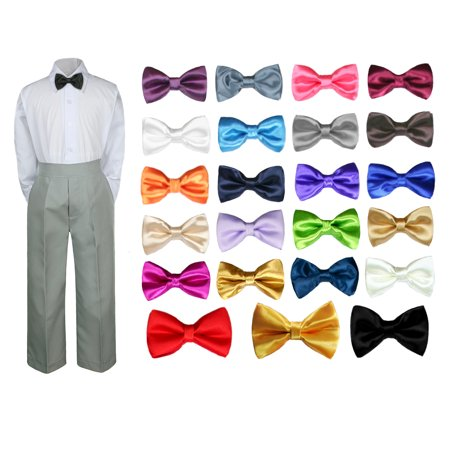 Snow White Outfit Kids (3PC Shirt Gray Pants Bow tie Set Baby Boy Toddler Kid Formal Suit)