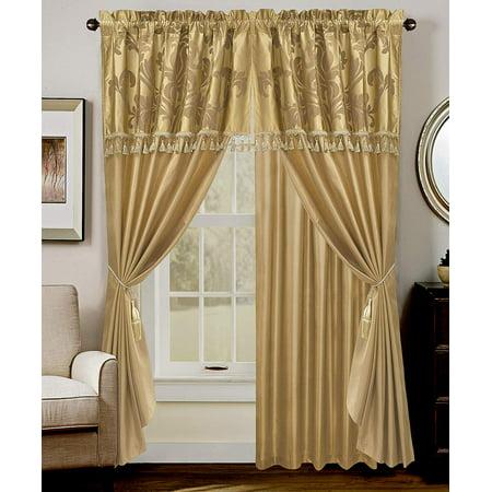 Chezmoi Collection Royale 4-Piece Jacquard Floral Window Curtain Set