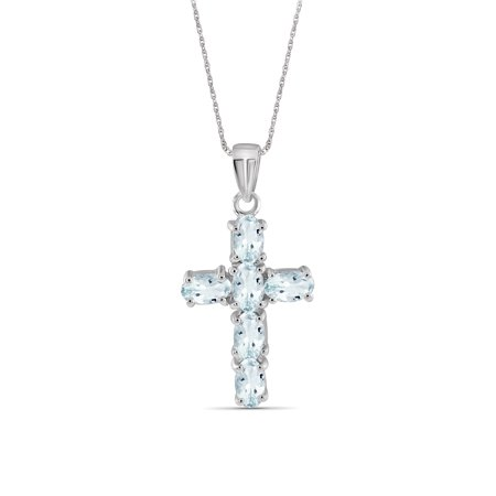 JewelersClub 1.32 Carat Aquamarine Gemstone Cross Pendant