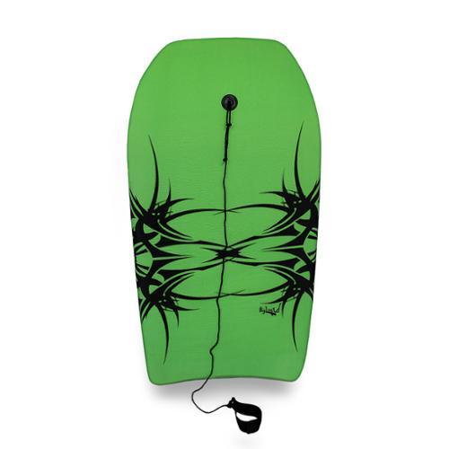 37 in. Bright Green and Black Tribal Print Body Board