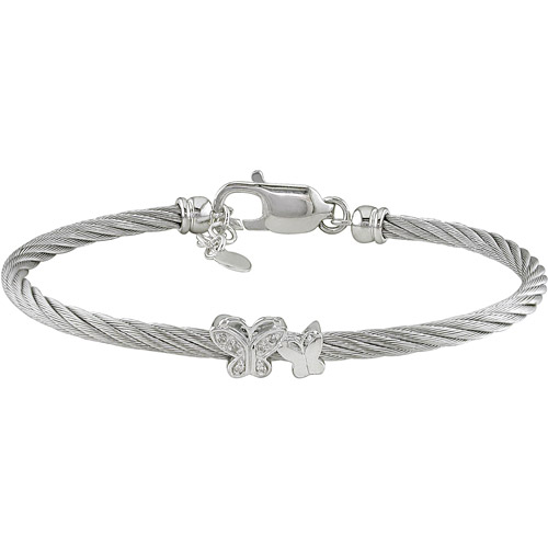 Diamond Accent Sterling Silver and Stainless Steel Butterfly Bangle