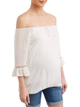 Planet Motherhood Maternity off the shoulder knit top with embroidered sleeve