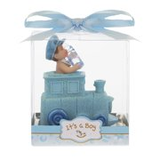 Mega Favors Keepsake Figurine 12 pcs Baby Boy Holding Bottle Inside Train Engine | Awesome Decorations or Party Favors | for Pregnancy Announcements, Gender Reveals, Birthday and Special Celebrations