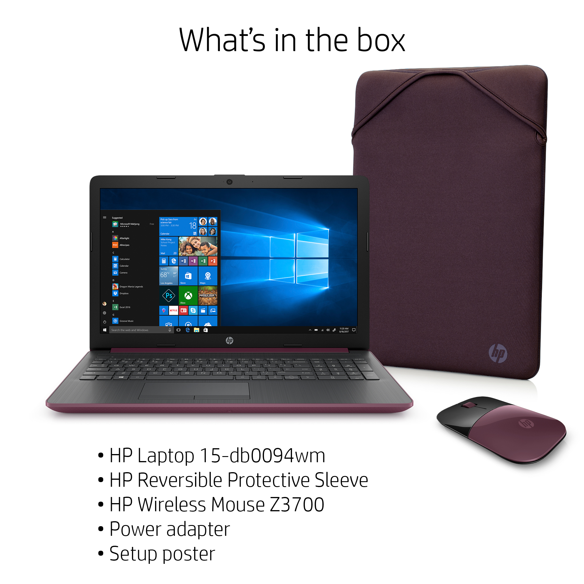 Hp 15 6 Laptop Bundle Amd A4 9125 4gb Sdram 500gb Hdd Wireless Mouse Sleeve Berry Mauve 15 Db0094wm Walmart Com Walmart Com