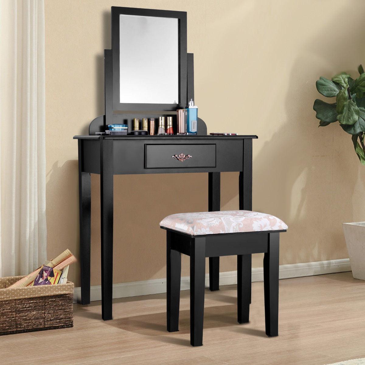 Costway Makeup Desk Vanity Dressing Table Set W Square Mirror Stool 1 Large Drawer Black by Costway