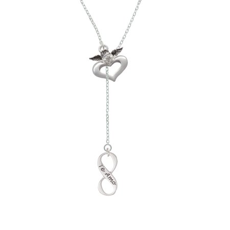 Te Amo Infinity Sign   Guardian Angel Lariat Necklace