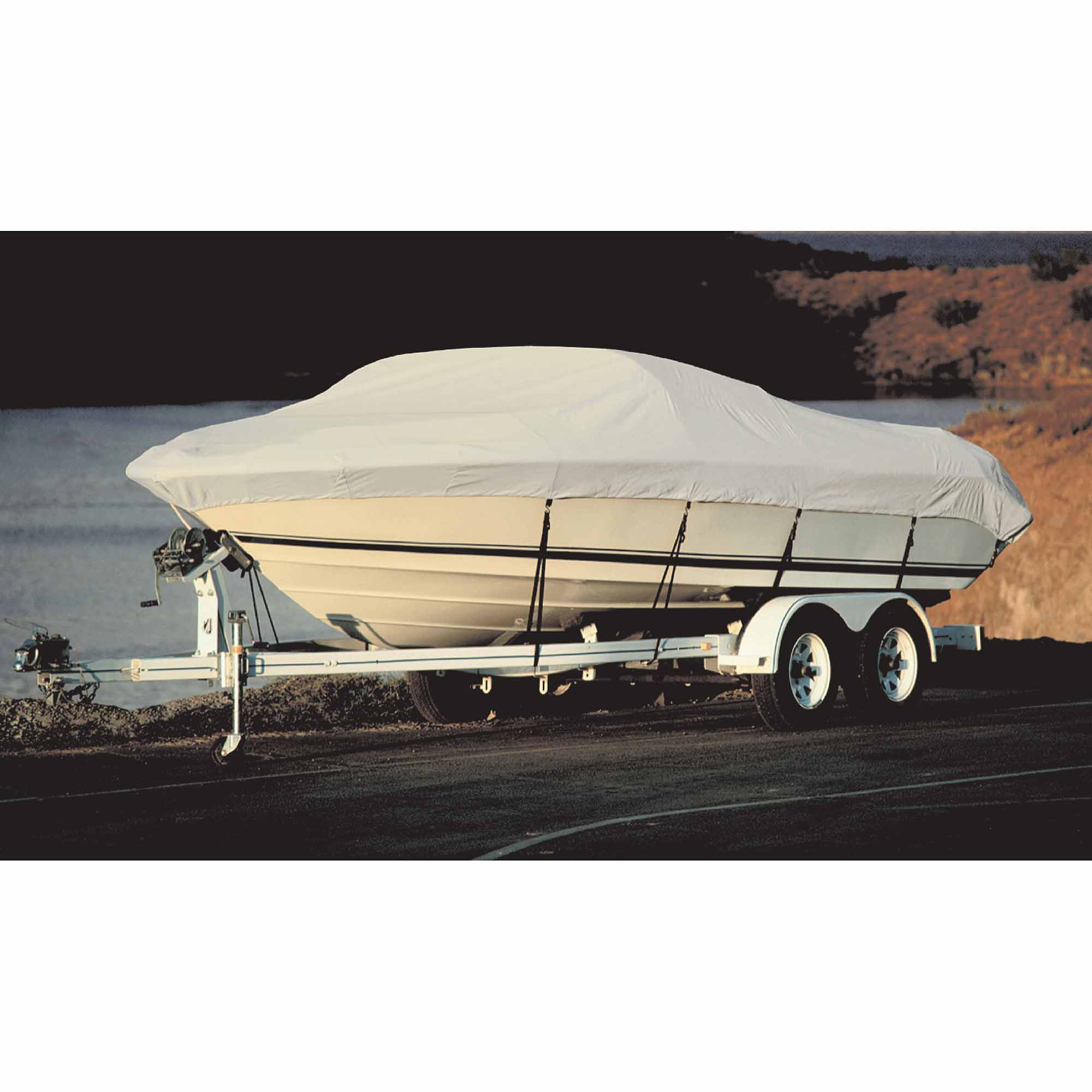 "Taylor Acrylic Coated Polyester Gray Hot Shot Fabric BoatGuard Boat Cover with Storage Bag and Tie-Downs, Fits 16' to 19' Fish 'n Ski, Up to 96"" Beam"