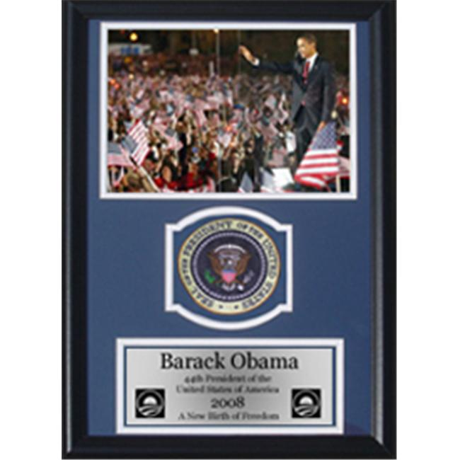 Encore Select 189-KN23608-1 Barack Obama Waving to Crowd with Presidential Commemorative Patch in a 12 in. x 18 in. Deluxe Photograph Frame