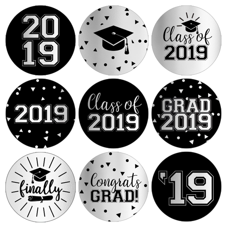 Silver Foil Graduation Party Stickers 216ct   Class of 2019 Favor Labels