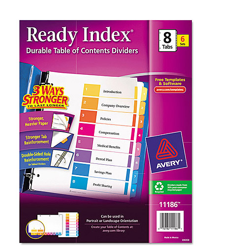 Avery Ready Index Table of Contents Dividers 11186, 8-Tab, 6 Sets