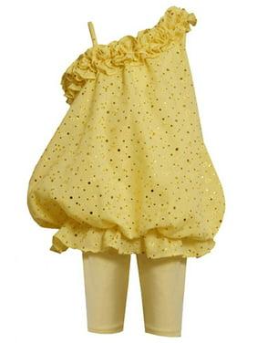 Bonnie Jean Baby Girl 3M-24M Spangle Eyelet Asymmetric Shoulder Bubble Dress/Legging Set