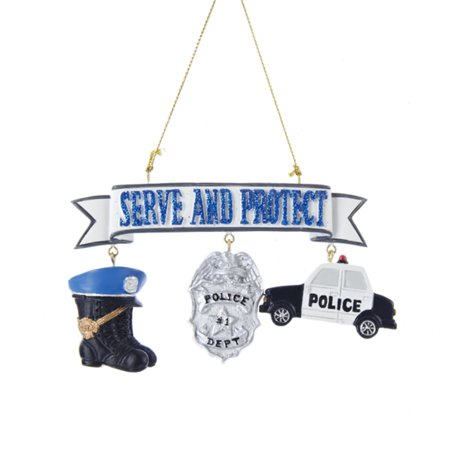 club pack of 12 serve and protect police christmas ornaments