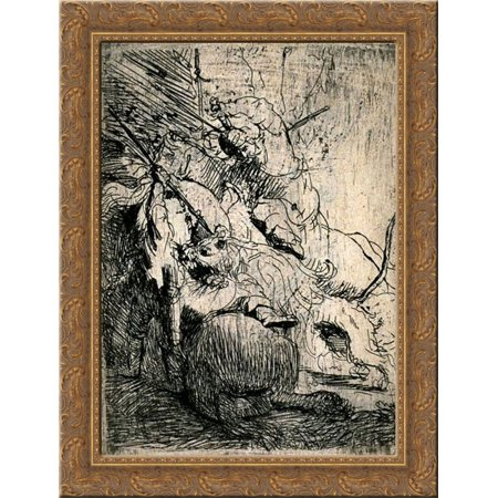 the small lion hunt 20x24 gold ornate wood framed canvas art by rembrandt - Wood Frames For Canvas