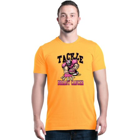 Shop4Ever Men's Tackle Football Player Breast Cancer Awareness Graphic T-shirt ()