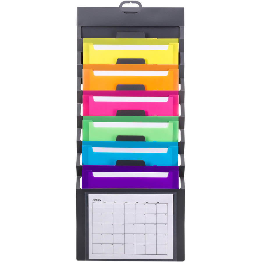 Smead Cascading Wall Organizer with 6 Removable Letter-Size Pockets, Bright Colors