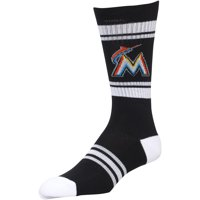 Miami Marlins Stripe Crew Socks - Black - L