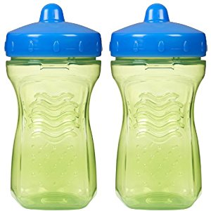 Playtex Baby Lil' Gripper Twist 'n Click Spout Cup, 9 Ounce, 2 Pack - Green/Blue