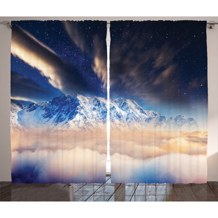 Space Decorations Curtains 2 Panels Set  Milky Way Over Snowy Mountain Peaks High Up Galaxy With Dusk Cloud Art  Window Drapes For Living Room Bedroom  108W X 90L Inches  Blue White  By Ambesonne