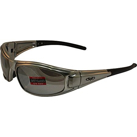 Global Vision Zilla Safety Sunglasses Platinum Silver Frame Flash Mirror Lens ANSI Z87.1