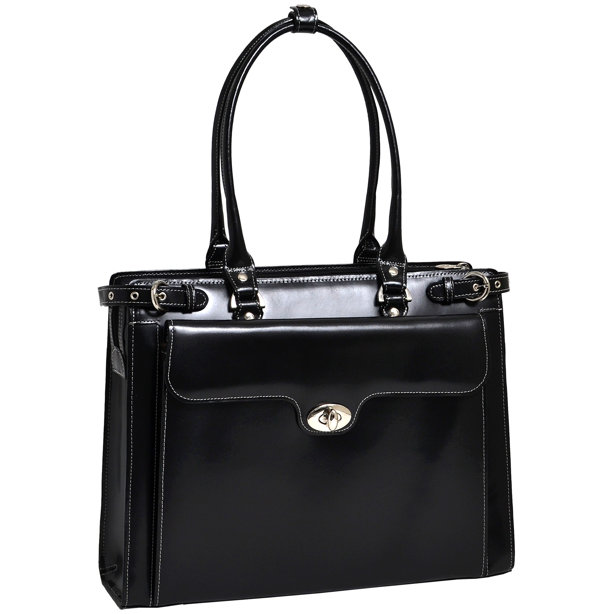 Winnetka Leather Ladies Briefcase with Removable Sleeve