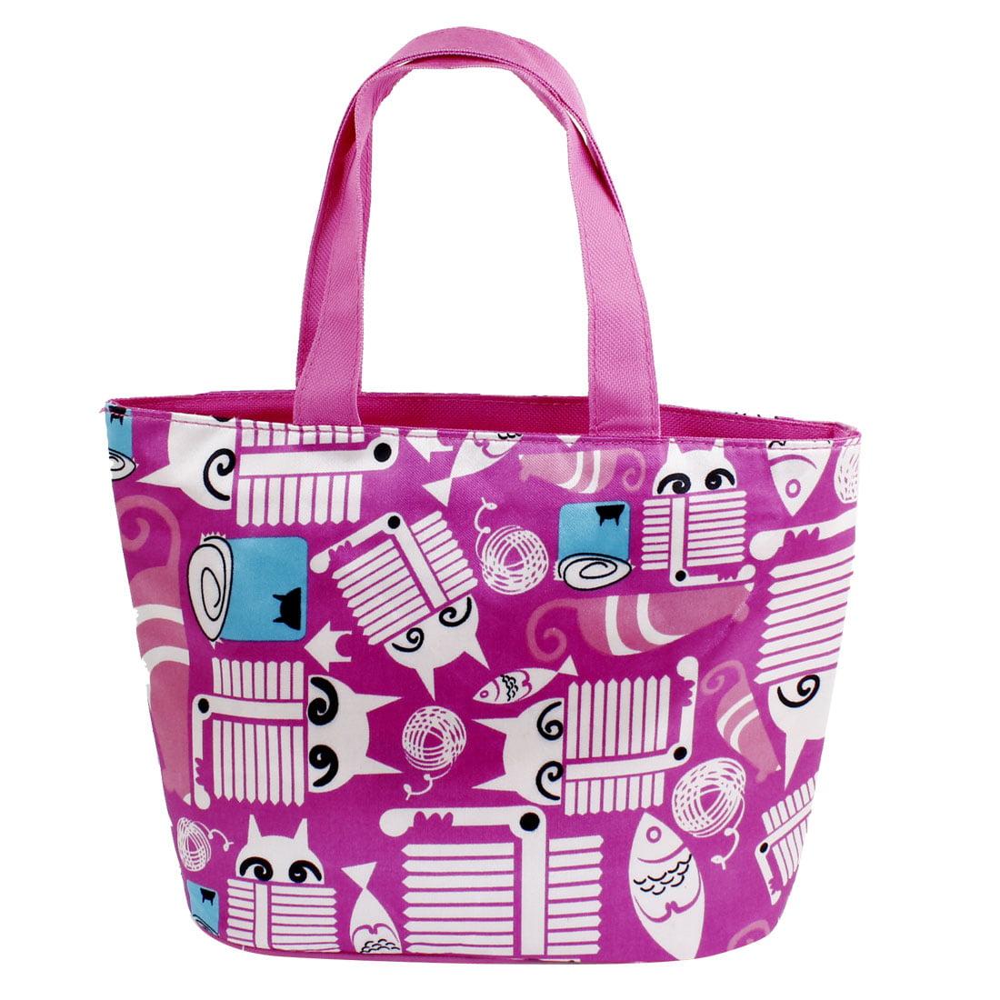 Woman Portable Foldway Fuchsia White Zipper Closure Shopping Bag Handbag