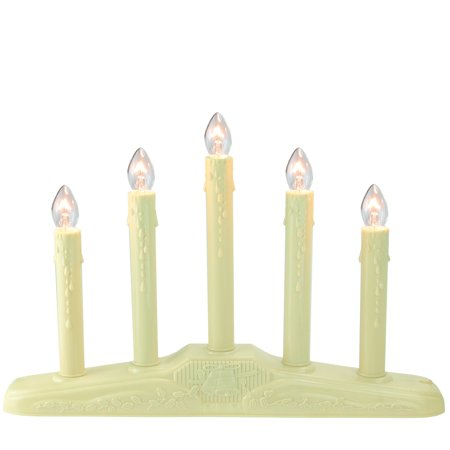 5-Light Christmas Candolier with Candles on Holly Berry and Bell Base Candle