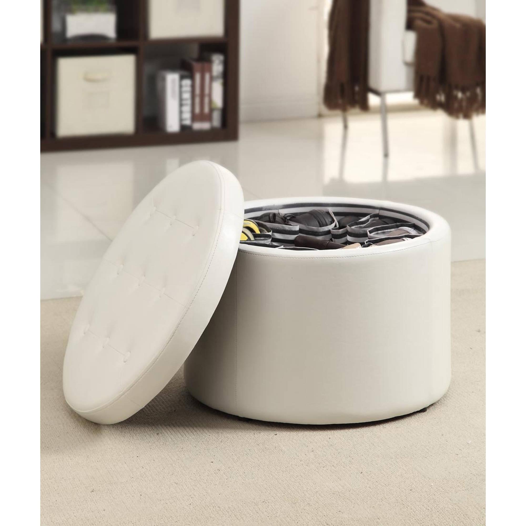 Convenience Concepts Designs4Comfort Round Faux Leather Shoe Ottoman, Multiple Colors