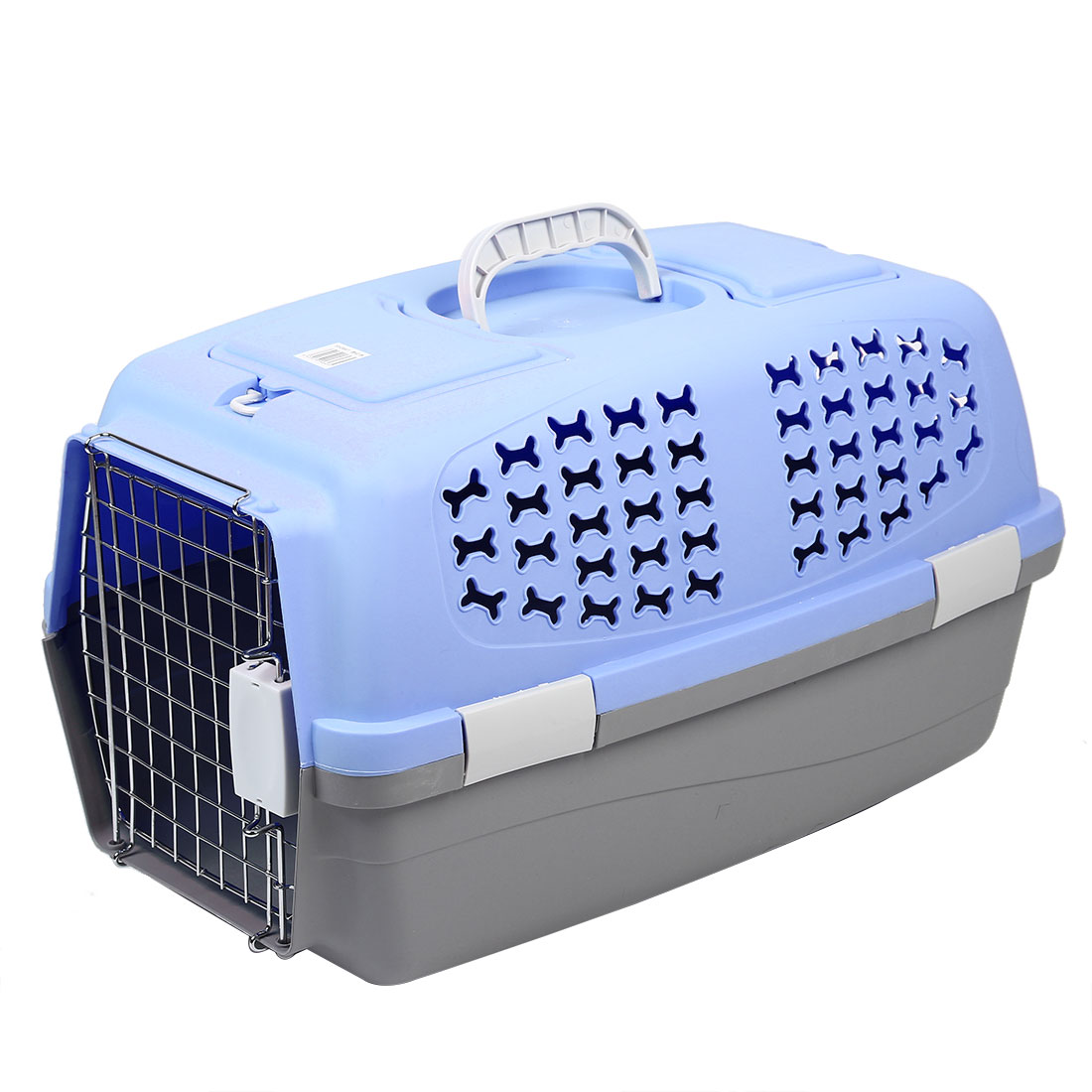 Outdoors Travel Plastic Transport Cages Airways Box Pet Carrier Blue 59x38x38cm