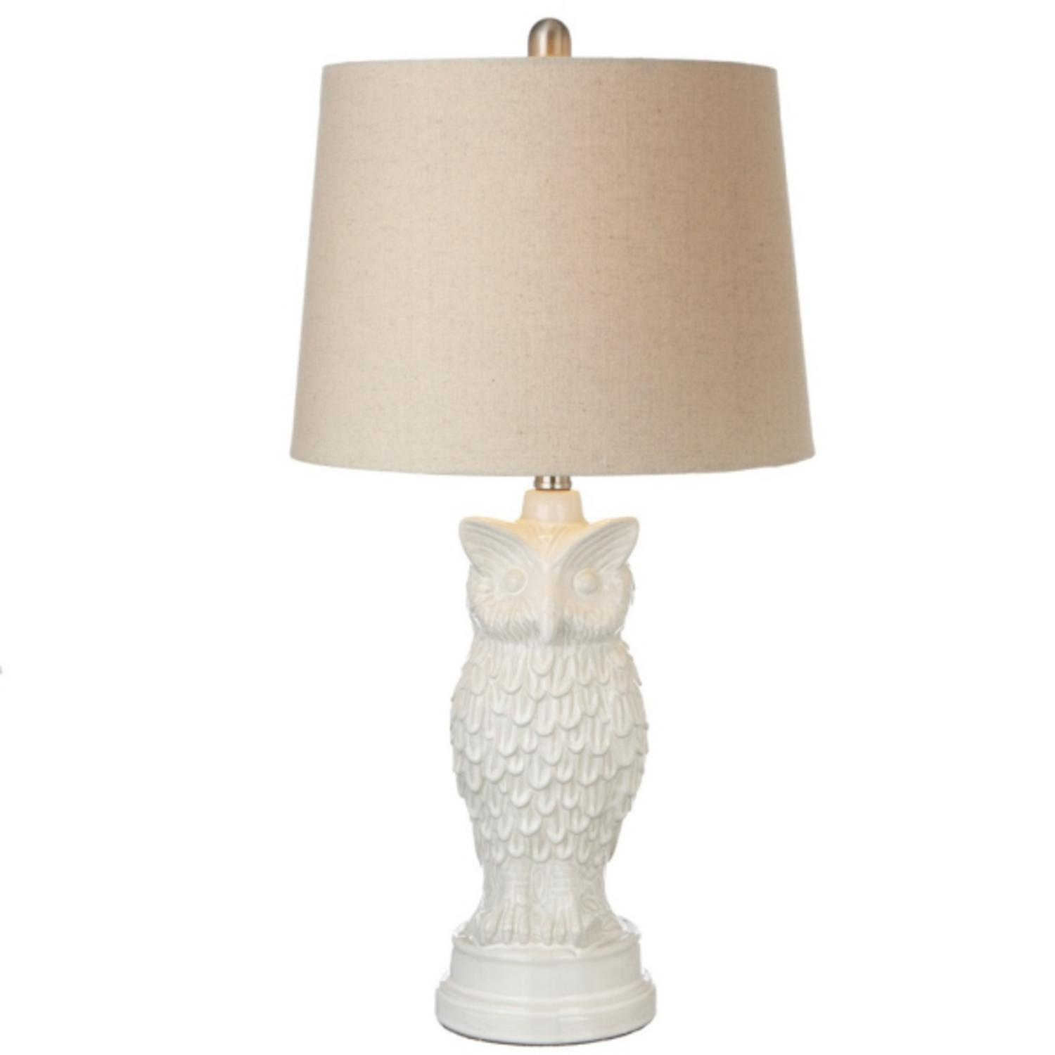 Set Of 2 Rustic Lodge White Ceramic Owl Table Lamps With Off White Fabric  Shades   Walmart.com
