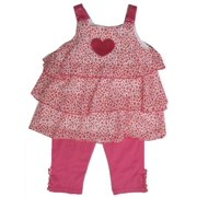 Buster Brown Little Girls Pink Sequin Applique 2 Pc Capri Set 2T-4T