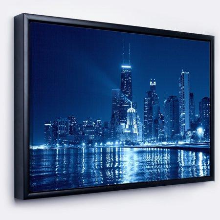 DESIGN ART Designart 'Blue Chicago Skyline Night' Cityscape Photo Framed Canvas Print