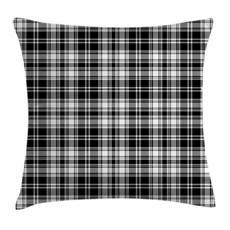 Abstract Decor Throw Pillow Cushion Cover, British Tartan Pattern with Vertical and Horizontal Symmetric Stripes Image, Decorative Square Accent Pillow Case, 18 X 18 Inches, Black White, by (Black And White Horizontal And Vertical Stripes)