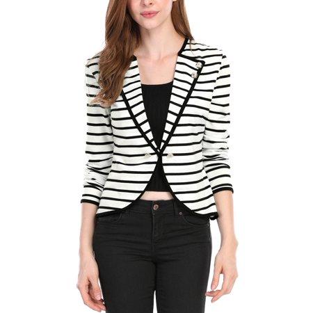 Women's Notch Lapel Striped Blazer Jacket Black (Size XL / 16)