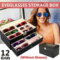 6/12 Compartments Black Eyeglasses Sunglasses Sun Glass Jewelry Storage Box Case Eyewear Glasses Oversize Display Organizer