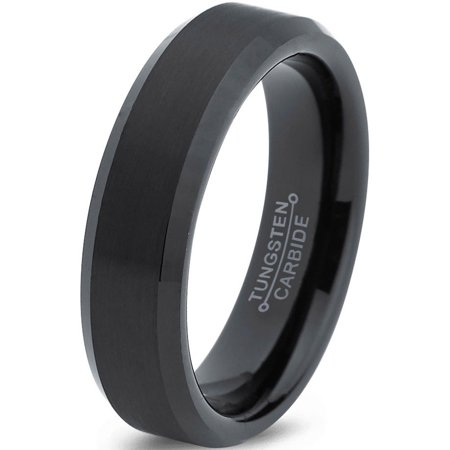 - Tungsten Wedding Band Ring 6mm for Men Women Comfort Fit Black  Beveled Edge Brushed Lifetime Guarantee