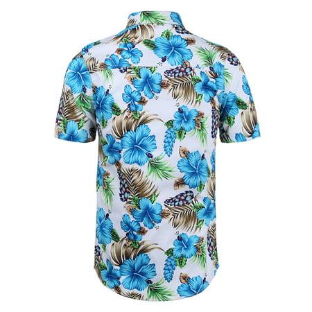 Men Casual Floral Button Down Short Sleeve Beach Hawaiian Shirts Black Gray L