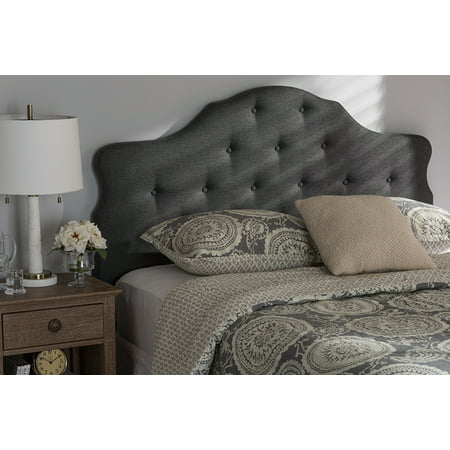 Baxton Studio Dacia Modern and Contemporary Dark Grey Fabric King Size Headboard
