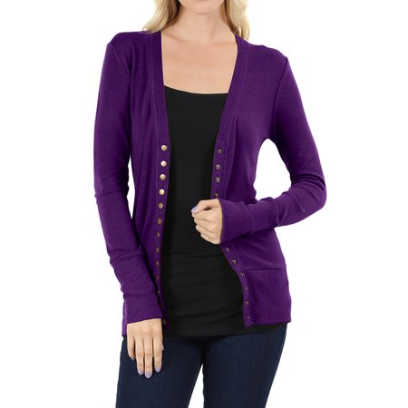 (Women Classic Thin Snap Button Front V-Neck Button Down Long Sleeve Ribbed Knit Cardigan)
