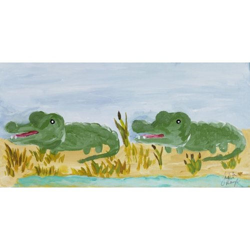 Judith Raye Paintings LLC Two Crocodiles by Judith Raye Painting Print