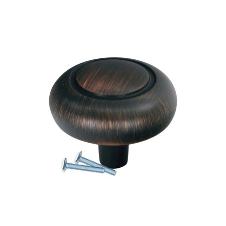 Classic 4 Inch Round Canopy - Classic Round Bubble Brushed Oil-Rubbed Bronze Cabinet Hardware Knob, 1-1/4