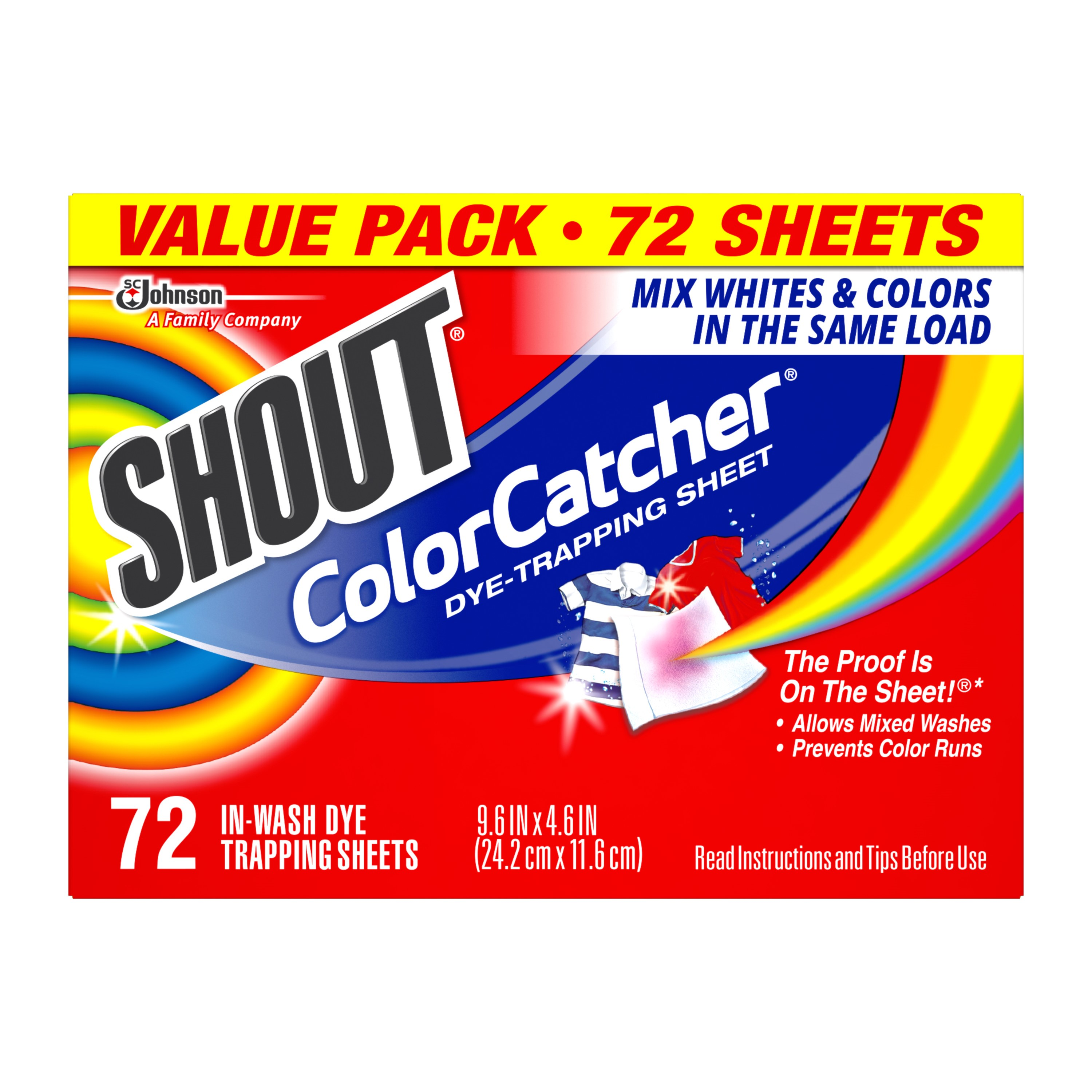 Shout Color Catcher Dye Trapping Sheet, 72 Count