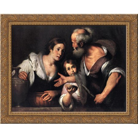 Prophet Elijah And The Widow Of Sarepta 24X20 Gold Ornate Wood Framed Canvas Art By Bernardo Strozzi