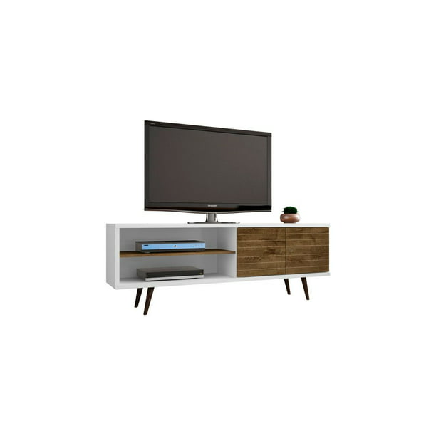Liberty 62 99 Mid Century Modern Tv Stand With 3 Shelves And 2 Doors In White And Rustic Brown With Solid Wood Legs Walmart Com Walmart Com