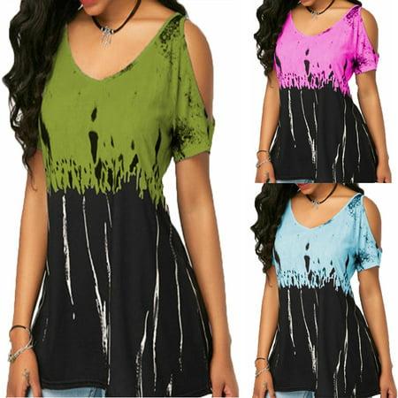 2019 Plus Size Women Fashion Print Short-Sleeved T-Shirt Strapless Loose Tank Top ()