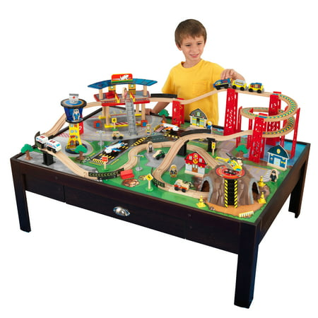 KidKraft Airport Express Espresso Train Set & Table with 91 accessories included (Geotrax Train Remote Control)