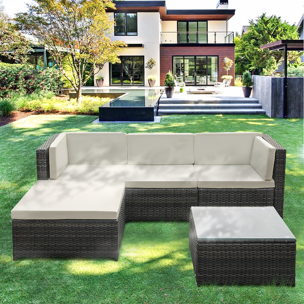 iKayaa 5PCS Outdoor Patio Garden Wicker Furniture PE Rattan Sofa Set Sectional