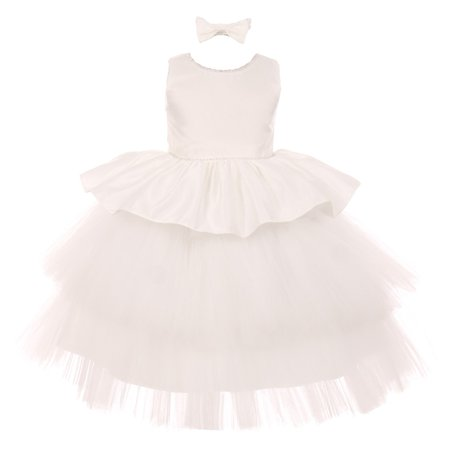 Baby Party Dresses Clearance (RainKids Baby Girls Ivory Rhinestone Satin Tulle Party Flower Girl)