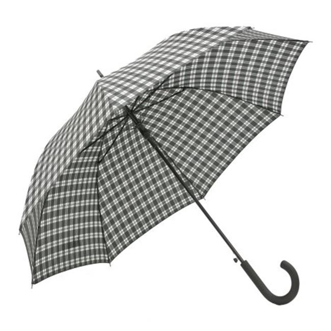 RA18-PL Automatic Open Stick Umbrella - Black and White Plaid