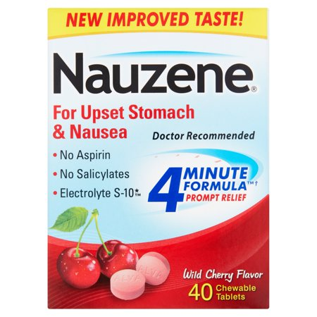 Nauzene For Upset Stomach & Nausea Wild Cherry Flavor Chewable Tablets - 40