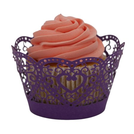 DZT1968 25pc Christmas Lace Laser Cut Cupcake Wrapper Liner Baking Cup Muffin Purple